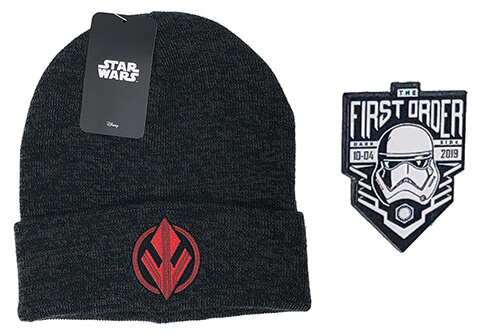 Star Wars Knit Hat and First Order Darkside Pin (Black)